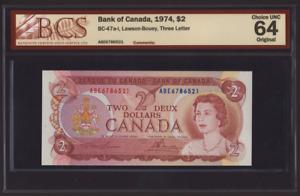Canada 🇨🇦 1974 - $2 Dollars Lawson Bouey - BCS Choice UNC 64