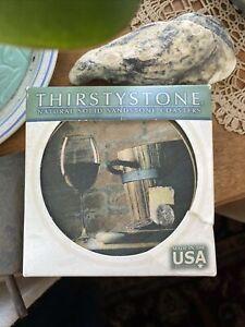"Thirstystone Coasters Set 4 PCs ""Wine Tasting"" In Original Box Preowned"