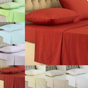Plain Dyed Luxury Flat Bed Sheets 100% Egyptian Cotton 200TC Double King Sizes