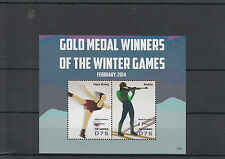 Gambia 2014 MNH Winter Games Gold Medal Winners 2v S/S Olympics Biathlon Skating