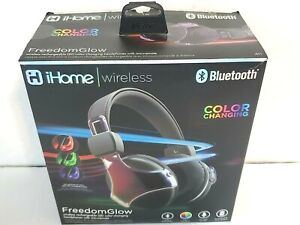iHome Wireless Rechargeable Bluetooth LED Color Changing Headphones w/ Mic