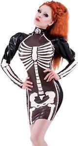 Westward Bound Palermo Skeleton Latex Dress Black with Baby Pink Trim