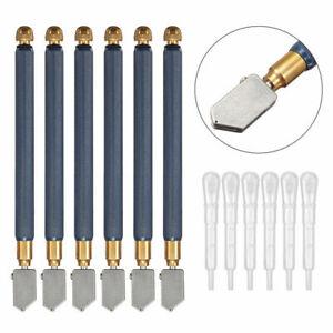 TC-17B Oil Glass Cutter Metal Handle Diamond Straight Head Cutting Tool 6pcs *
