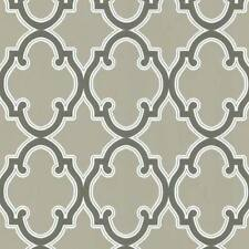 Trellis Geometric Wallpaper | Brown Lattice Sidewall | Taupe Background FD62944