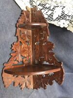 "Antique Wooden Decorative Fold Up Corner Wall Shelf Cut Out Carved 14"" Tall"