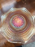 Vintage CARNIVAL Glass Plate Orange Iridescent Glass. Vintage/Retro