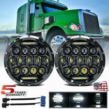 Pair 7 inch Round LED Headlights HI/LO Halo For Freightliner Coronado 2001-2016