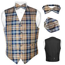 Men's Plaid Design Dress Vest BOWTie Navy BROWN White BOW Tie Hanky Set Suit Tux
