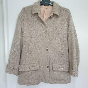 Laura Ashley Beige Wool Coat Jacket Size 12 Oversized Herringbone Collared