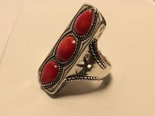"""🌸Silpada """"Deep Sea"""" Coral Sterling Silver Statement Ring (R53) size 7.75🌸"""