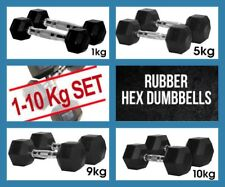 1kg to 10 kg CLUB Rubber Hex Dumbbells 10 Pair Weight Set Package Deal 110kg