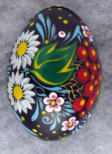 Pysanka Wooden Easter Eggs, Ukrainian Pysanka, Black w/ Kalina/Romashki Flowers