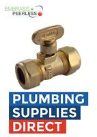 Embrass Peerless - Brass Compression Gas Isolating Valve 15mm - 57133