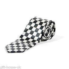 White and Black Checkered Check Skinny Neck Tie Fancy Dress New