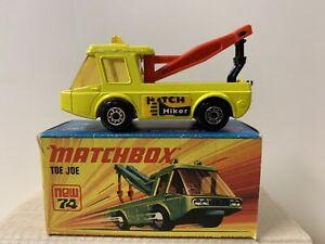 LESNEY MATCHBOX  SUPERFAST 74B TOE JOE  YELLOW WITH HITCH HIKER LABELS  NIOB