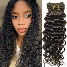 Deep Wave Curly Clip In Hair Extensions Human Hair Natural Black Color 10Pcs/Set