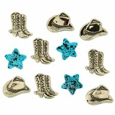 JESSE JAMES ~ DRESS IT UP BUTTONS ~ SILVER COWBOY HATS & BOOTS 990 Sewing Craft