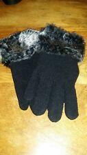 ladies S/M black fleece gloves with fur trim