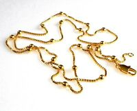 Bead Necklace Yellow 24K Gold Plated Box Chain 23.5 inch 60cm Long UK