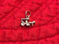 925 Sterling Silver Horse and Carriage Charm for Bracelet or for Necklace