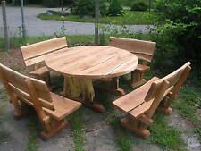 Gartenmöbel, Sitzgruppe, Eiche, 2 m, rund