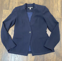 Karl Lagerfeld Paris Navy Blue Blazer Jacket with Lace Detail Size 4 Button