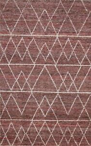 Geometric Contemporary Abstract Wool/ Silk Hand-knotted Oriental Area Rug 4x6 ft