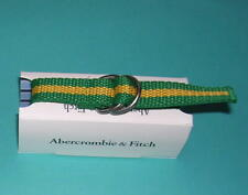 Abercrombie & Fitch Buckle Bracelet  A&F Green Yellow Stripe Rare Vintage