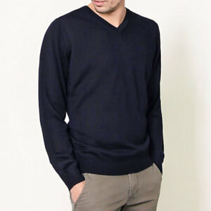 Mens 100% Pure Merino Wool V Neck Sweater Jumper Knit Machine Washable Navy