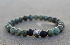 Men's African Turquoise Beaded Stretch Bracelet 8mm Stack-able Bracelets