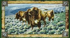 NEW LARGE ROAMING BUFFALO PANEL WALL HANGING FABRIC MATERIAL FOR QUILTS DECOR