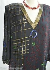 VTG FABRICE SILHOUETTE SILK TICK TACK Toe beaded cocktail DRESS Evening SIZE 16