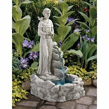 Ky30367 - Nature's Blessed Prayer St. Francis Sculptural Fountain w/Pump!