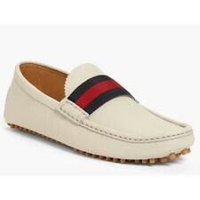 NEW Gucci Men's Off White Beige Leather Web Driver Loafer Shoe 8.5 G 9.5 US