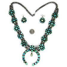 Carico Lake Turquoise Squash blossom & Earring set by Ella Peter