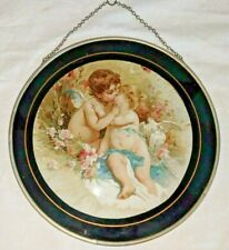 Gorgeous Antique Flu Cover Doves Cherubs Kissing Playing Excellent Condition