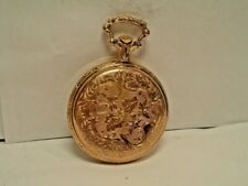 VINTAGE TIMEX GOLD TONE CASE WITH FLOWER DESIGNS  POCKET WATCH  MINT CON RUNS