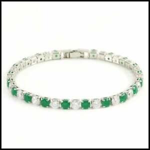 18k White Gold Overlay 6.45ctw Emerald & White Sapphire Tennis Bracelet