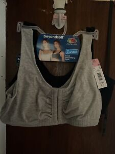 Fruit of the Loom Women's Front Close Sports Bra 2 Pack Black, Gray Size 36