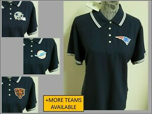 New Womens S-2XL Navy Blue/White Striped Collar NFL 100% Cotton #32S Polo Shirt
