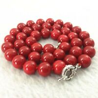 "Natural beauty red coral stone round beads 10mm jewelry necklace 18"" JN122"