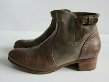 Alberto Fermani Viola Brown Leather Suede Zip Ankle Bootie Boot Women 39.5/9