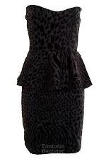 Womens Animal Print Peplum Frill Black White Red Boobtube Bodycon Ladies Dress
