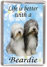 """Bearded Collie Dog Fridge Magnet """"Life is better with a Beardie"""" by Starprint"""