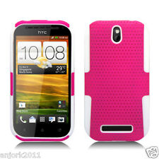 HTC One SV Boost Cricket MESH HYBRID CASE SKIN COVER ACCESSORY PINK WHITE