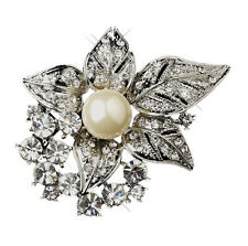 Bridal Diamante Cream White Pearl Corsage Flower Brooch for Wedding Pin BR161