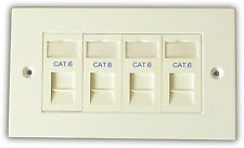 Cat6 4 Way Data Network Outlet Kit, Faceplate, Modules. LAN Ethernet Wall Mount