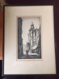 Sir HENRY RUSHBURY (1889-1968)  Antique Pencil Signed  Etching Butter Cross