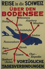 Original Plakat - Reise in die Schweiz über den Bodensee