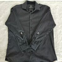 Bugatchi Uomo Mens 17/32 Black White Stripe Button Down Dress Shirt